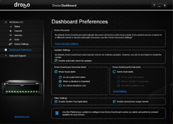 Drobo Dashboard Management Options